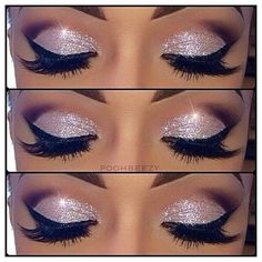 Sharp, pink sparkly half cut-crease eye makeup look.