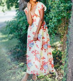 The Bardot Silk Floral Maxi Dress by Evangeline Clothing on Scoutmob