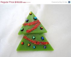 Christmas Tree Brooch Pin Glass MidCentury