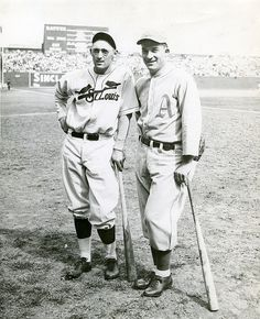 St. Louis Cardinal Chick Hafey with Philadelphia Athletics Al Simmons at Sportsman's Park during the 1931 World Series.