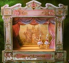 Inspired by antique toys..A fairytale castle Victorian tabletop theatre with mechanical ballerina puppets...by Jill Dianne. SOLD.