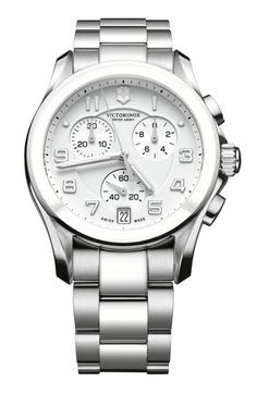Swiss Army Chrono Classic White Dial Leather Strap Ladies Large Watch 241511 BY Swiss Army Stylish Watches, Luxury Watches, Cool Watches, Watches For Men, Men's Watches, Dress Watches, Affordable Watches, Victorinox Swiss Army, Swiss Army Watches