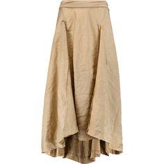 Donna Karan New York Jersey-trimmed linen and silk-blend midi skirt (6.558.475 IDR) ❤ liked on Polyvore featuring skirts, mushroom, mid calf skirt, donna karan, calf length skirts, linen skirt and donna karan skirt