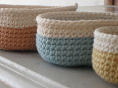 Crochet baskets from free pattern here: http://www.designsponge.com/2009/07/mini-crochet-baskets.html
