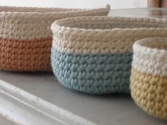 Crochet baskets from free pattern here: http://www.designsponge.com/2009/07/mini-crochet-baskets.html