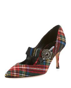 Manolo Blahnik Verna Plaid Mary Jane Pumps Manolo Blahnik Shoes, Mary Jane Pumps, Bergdorf Goodman, Fashion Accessories, Mary Janes, Leather Wedges, Shoe Shop, Women's Shoes, Designer Shoes