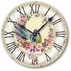 Item C1603 Vintage Style Birds Clock
