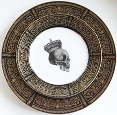 STUNNING BLACK AND GOLD VINTAGE SEYEI SKULL PLATES _______________________________________________________________  THESE PLATES CAN BE