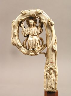Crozier Head Date: ca. 1350–75 Geography: Made in possibly Lombardy, Italy Culture: Italian Medium: Ivory, gilding Dimensions: Overall: 7 5/16 x 4 1/16 x 1 1/4 in. (18.6 x 10.3 x 3.1 cm) Shaft: 1 3/16 x 1 1/4 in. (3 x 3.1 cm) Base: 4 1/4 x 5 1/16 x 4 1/4 in. (10.8 x 12.8 x 10.8 cm)