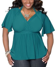 Another great find on #zulily! Jade Starlet Flutter-Sleeve Top - Plus #zulilyfinds