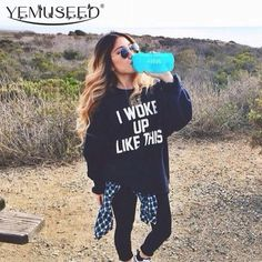 "Harajuku Style Letter Print Sweatshirt ""I Woke Up Like This"" Beyonce Song Element Women Hoodie Hip Hop Cloth  $21.00 www.ShopDulceVida.com . . #and #shirts #shirt #me #peru #up #roanoke #tee #jumpsuits #loungewear #pretty #small #swimsuits #pumps #rompers"
