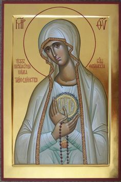 Russian Icon Our Lady of Fatima is a collaboration between a Russian iconographer and a Catholic priest.