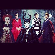 Bianca Del Rio as multiple Disney villainesses: the Red Queen, Lady Tremaine, Maleficent, Cruella De Vil, the Evil Queen from Snow White #LOVE