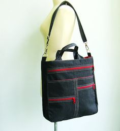 Sale Black Water-Resistant Bag tote messenger diaper by tippythai