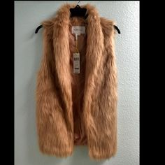 """SHELL COLLAR FAUX-FUR VEST New with tags! I never used it. Color: Blush            Size medium measures approximately 25"""" from shoulder to hem. Easy fit BCBGeneration Jackets & Coats Vests"""
