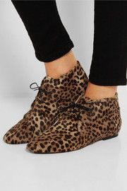 Ginger leopard-print calf hair ankle boots