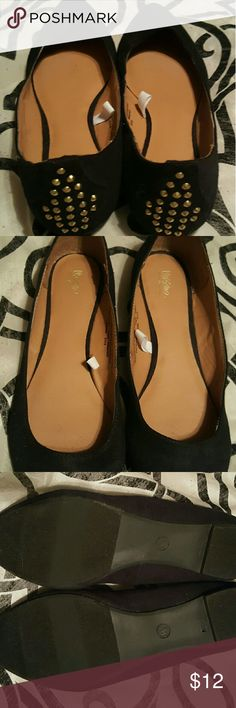 Mossimo Suede Flats Very chic, black flats with gold rhinestone design on back. Super cute and comfortable. Worn once. Mossimo Supply Co Shoes Flats & Loafers