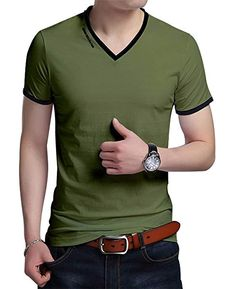 JNC Men's Summer V-Neck Casual Slim Fit Short Sleeve T-Shirts Cotton Shirts (Army Green) Men smart casual wear - Fashionable men t shirts - Latest men fashion trends. Mens Summer T Shirts, Mens Polo T Shirts, Boys T Shirts, Casual T Shirts, Smart Casual Wear, Men Casual, Mens Traditional Wear, Boys Clothes Style, Camisa Polo