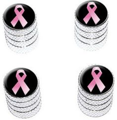 """Amazon.com : (4 Count) Cool and Custom """"Diamond Etching Pink Breast Cancer Ribbon Top with Easy Grip Texture"""" Tire Wheel Rim Air Valve Stem Dust Cap Seal Made of Genuine Anodized Aluminum Metal {Elegant Subaru Silver and Black Colors - Hard Metal Internal Threads for Easy Application - Rust Proof - Fits For Most Cars, Trucks, SUV, RV, ATV, UTV, Motorcycle, Bicycles} : Sports & Outdoors"""