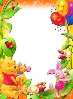 image winnie the pooh with balloons kids transparent png photo frame this cute happy birthday available for free Winnie The Pooh Pictures, Winnie The Pooh Friends, Boarder Designs, Page Borders Design, Happy Birthday Frame, Birthday Frames, Disney Frames, Boarders And Frames, School Frame