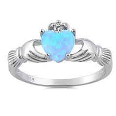 Sterling Silver Claddagh with Light Blue Lab Opal by IndigoandJade