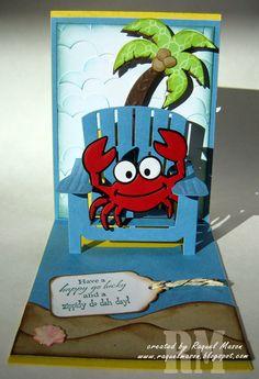 Raquel Mason using the Pop it Ups Adirondack Chair, Palm tree & pail, Beach Edges and Rocky the Crab dies by Karen Burniston for Elizabeth Craft Designs - Raquel's Stampin' Blog: Pop It Ups Sneak Peak - Adirondak Chair