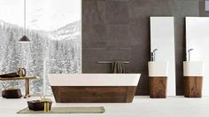like the wood base consistancy with the clean white floor and accents, and dark tile wall  Luxury-Marble-Stone-Bathtub-Design-2013
