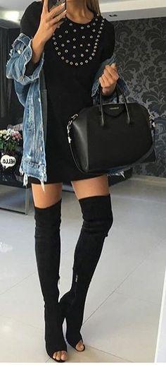 #thanksgiving #fashion · Denim Jacket // Black Dress // Black Leather Tote Bag // Black Over The Knee Boots