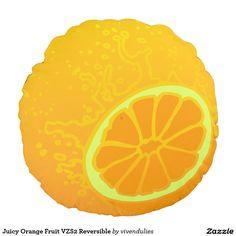 Juicy Orange Fruit VZS2 Reversible Round Pillow