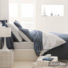 Linnea - Collection Actuel Bleu   #bedroom #polkadot #navyblue #blue #white