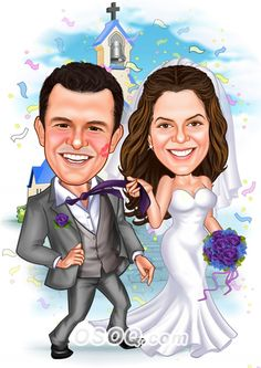 Shop for Caricature artist draw cartoon portrait and Custom Cartoon logo, business card, poster, banner design for your business. Caricature From Photo, Caricature Artist, Caricature Drawing, Wedding Illustration, Family Illustration, Illustration Artists, Cartoon Logo, Cartoon Design, Bride And Groom Cartoon