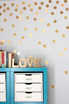 DIY Wall Art Ideas -Gold Metallic Dot Walls