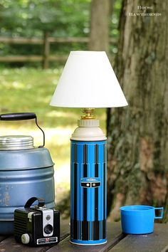 "The second of my yard sale finds that I'm repurposing/redoing/using/whatever is my blue thermos. I had seen something similar to this in a magazine a while back and thought ""I can do that!"" And I did. It was really quite easy. Supplies needed: Thermos – vintage is good, new is just as good (did I...Read More »"
