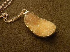 Peach Druzy Brazilian Agate Pendant and Gold by allisonmooney, $55.00