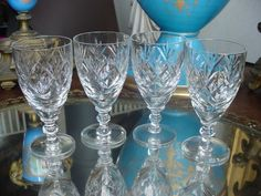 Set 4 Webb Corbet Georgian Cut Crystal Glass Sherry Wine Goblets Stems | eBay