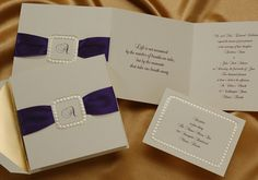 T 71LT Wedding invitation from Lunarink.com by Birchcraft Studios.  Simply tuck the included satin ribbon strip into the die-cut buckle. The buckle is stamped to resemble pearls and is surrounded by gold foil.