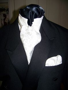Ascot or Carvat and Pocket square puff White by civilwarlady, $23.95