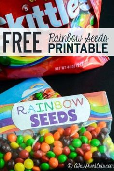 Such a cute way to celebrate St Patricks Day or Spring. Print these FREE Rainbow Seeds Printable Labels!