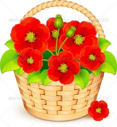 Buy Vector Basket with Red Flowers by art_of_sun on GraphicRiver. Vector basket with beautiful red flowers. Editable EPS and Render in JPG format Blue Roses, Red Flowers, Colorful Flowers, Vector Flowers, Flower Clipart, Beautiful Flower Drawings, Alcohol Ink Crafts, Cartoon Flowers, Black Aesthetic Wallpaper