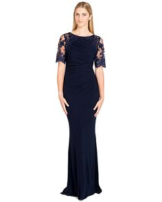 Badgley Mischka EG1713 Lace Jersey Shirred Evening Gown, now available at the official website. Free shipping, exchanges, and returns.