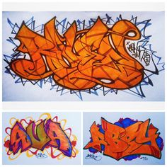 """New sketchbook work. My #Graffiti triple play: RAVEN, AVA, ABBY ... """"Don't call it a comeback! I've been here for years ..."""" - LL Cool J  #RAVEN85"""