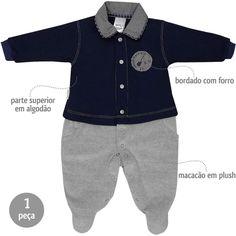 Macacão Bebê Menino em Plush com Gola Pólo Marinho - Sonho Mágico :: 764 Kids | Roupa bebê e infantil