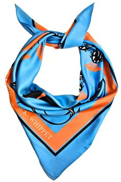 """Beautiful large square sky blue color printed silk scarf features a black Whippet dog motif with black, white, grey and orange floral print. Bright orange color border with text The Black Whippet in italian and french.    Measures 35"""" X 34 1/2""""   Orange Blue Silk Scarf by L'Imagine. Accessories - Scarves & Wraps Portland, Oregon"""