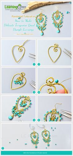 PandaHall Tutorial on How to Make Delicate Turquoise Bead Heart Dangle Earrings