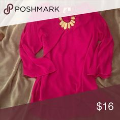 Blouse This shirt is magenta in color- the top of the shoulder are open Tops Blouses
