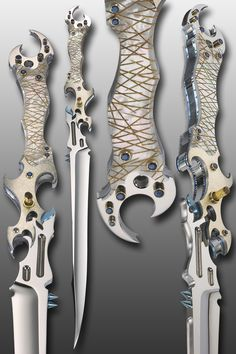 "TITLE: ""KRYSTALLOS"" SPECS: FIXED-BLADE FIGHTER, OVERALL LENGTH: 18""."