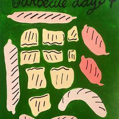 🍴🐽 .  .  .  .   #barbecue #food #pattern #illustration #pork #sausage #illustration #drawing #doodle #yoojinguak #fooddrawing #foodillustration #드로잉 #바베큐 #일러스트 #맛점 #green #palepink #pink #🐷 #🍖