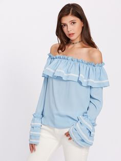 Lace Applique Layered Sleeve Flounce Bardot Blouse -SheIn(Sheinside)