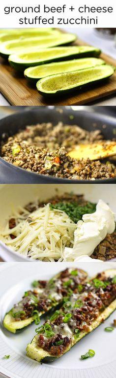 Ground Beef + Cheese Stuffed Zucchini