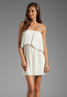 T-Bags LosAngeles Tiered Strapless Crochet Mini Dress in Ivory